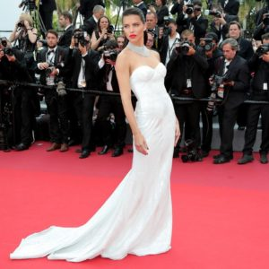 Adriana Lima at the Cannes Festival in a white gown (1)