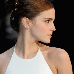 Emma Watson in white dress with hair up