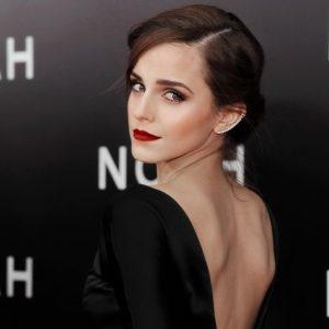 Emma Watson with backless dress on