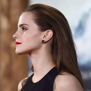 Emma Watson with slicked back hair