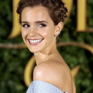 Emma Watson at Beauty and The Beast red carpet show smiling