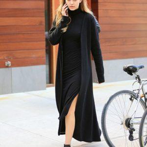 Gigi Hadid wearking long turtleneck dress