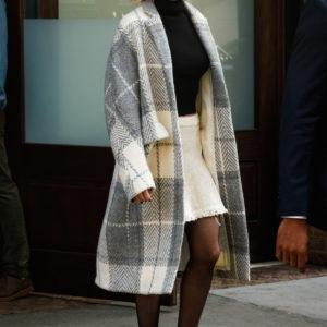 Jennifer Lawrence plaid jacket and mini skirt for fall