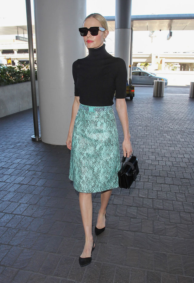 Kate Bosworth in Black Turtleneck and pencil skirt