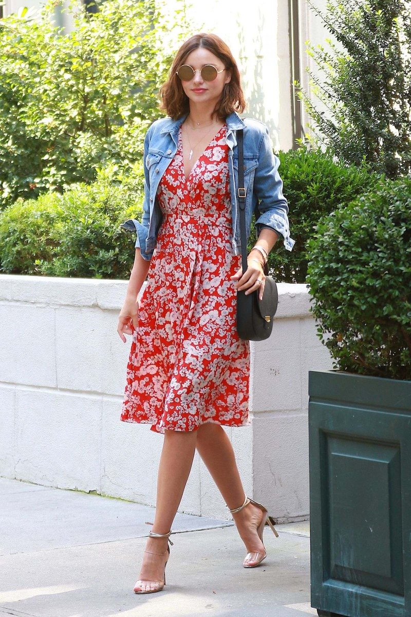 Miranda Kerr wearing a cute floral printed dress with a jean jacket (1)