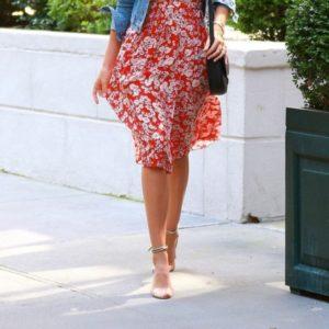 Miranda Kerr in floral red dress 3