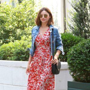 Miranda Kerr in floral red dress 2