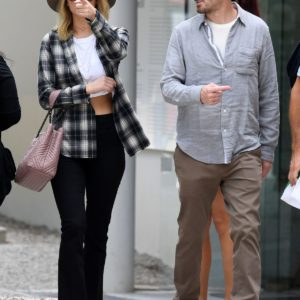 Jennifer Lawrence in venice wearing crop top and plaid shirt (2)