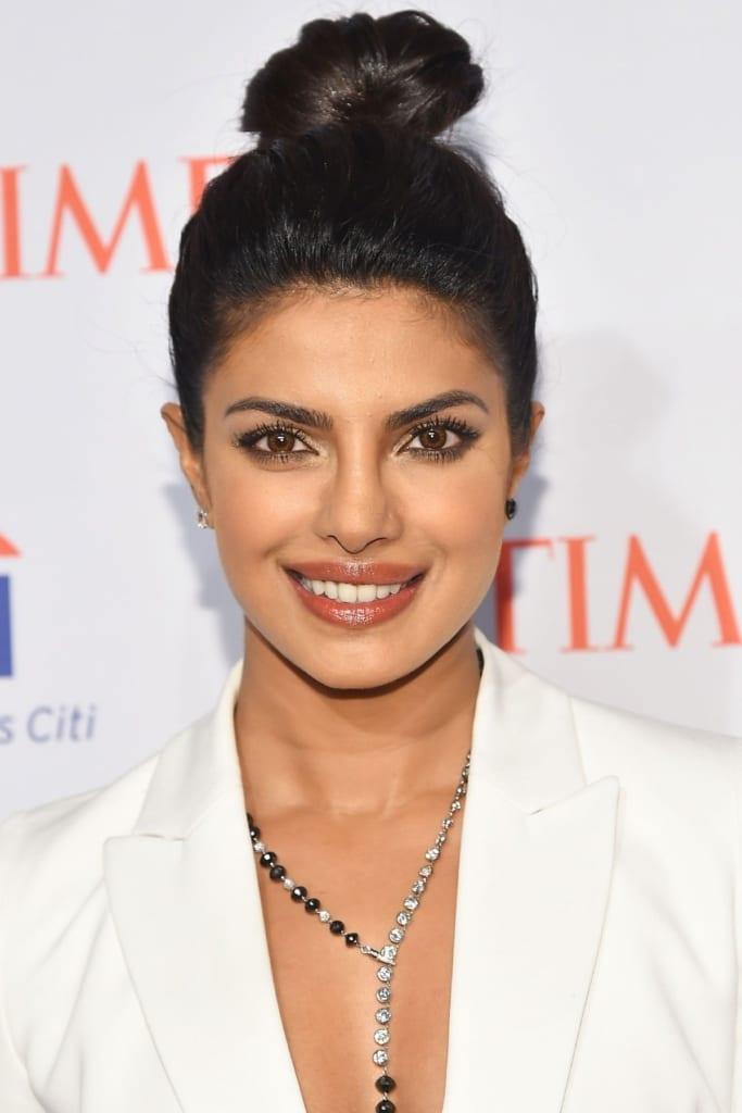 Priyanka Chopra top knot lazy hair day