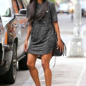 Ciara in big tee and comfy shoes