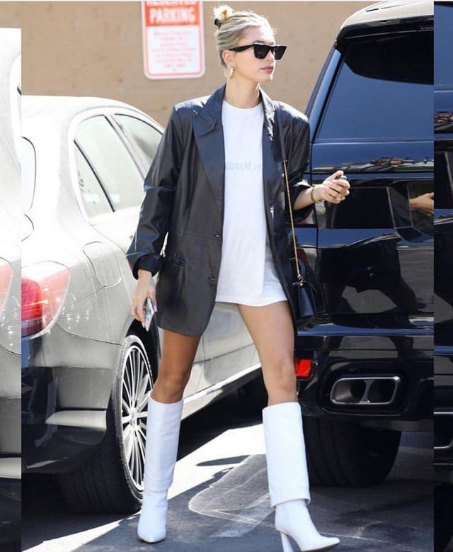 Hailey Bieber styling white tshirt with gold hoops