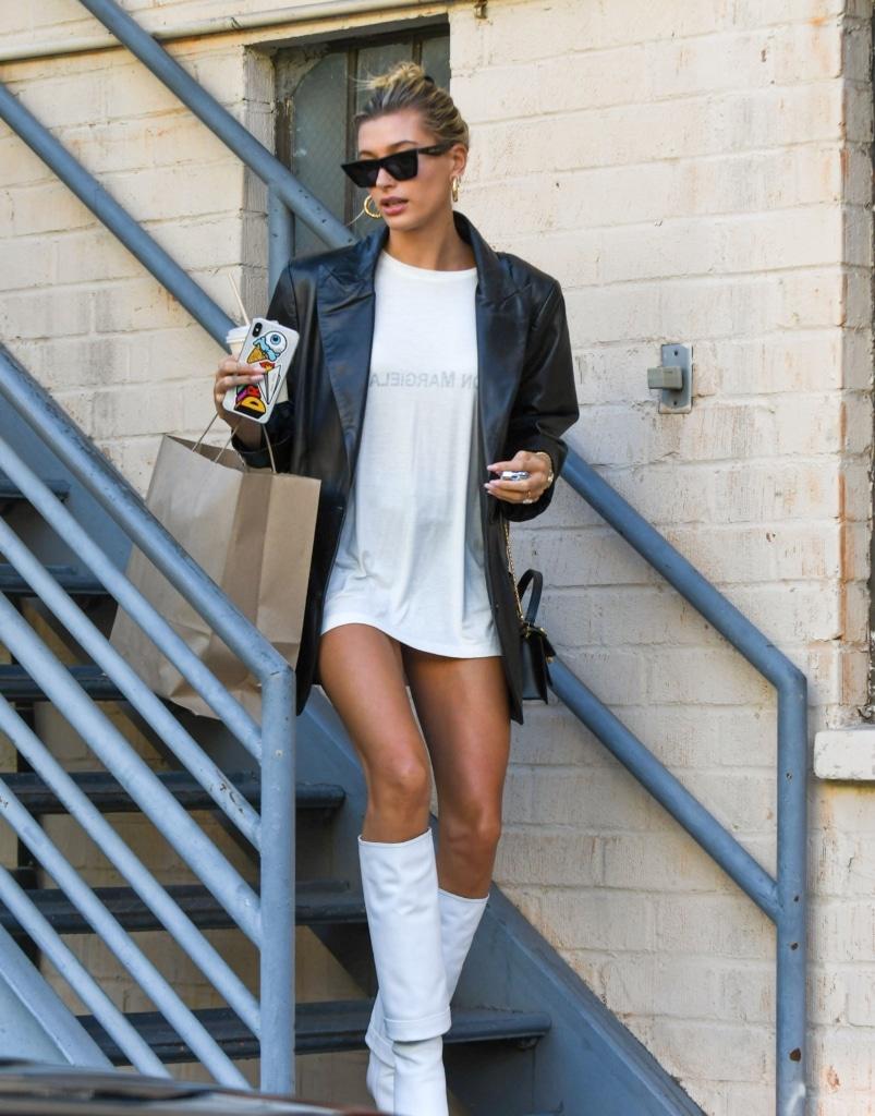 Hailey Bieber white tshirt dress